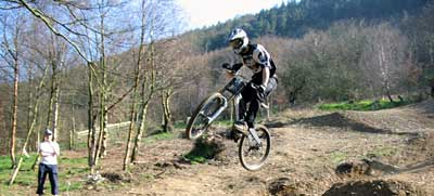Rowan Sorrell on the new Mojo Downhill track at Cwm Carn, South Wales